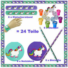 😊 4 x 6 = 24 Mitgebsel Set Einhorn je 6 x Stempel Bleistift Notizblock Armband