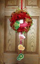 "Dachshund Red/Brown Felt Sculpture 14"" Deco Mesh Watermelon Dress Wreath Summer"
