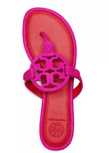 Tory Burch NEW Miller Imperial Pink Tumbled Leather Sandals US 6 7 7.5 8