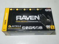 SAS Raven 6-Mil Powder-Free Nitrile Disposable Exam Gloves 100pk Large #66518
