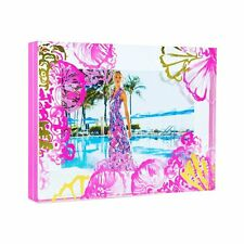 """Lilly Pulitzer - Acrylic Painted Picture Frame - Pink/Gold - """"Colorful Shells """""""