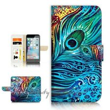 ( For iPhone 7 ) Wallet Case Cover P21569 Peacock Feather