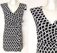 PREPPY Monochrome Print Ruffle Mock Wrap Tunic Dress