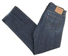 LEVIS Blue Jeans 514 33x31 Slim Straight Distressed Cotton Denim Dark Wash Mens