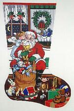 NEEDLEPOINT Handpainted Canvas LEE Christmas Stocking SANTA and Toy Bag 18M
