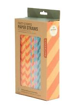 Kikkerland Party Stripes Multi-Color Design Paper Straws - Box of 144