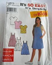 Simplicity 8175 Girls Easy Jumper & Knit Top Sewing Pattern ~ Size 7-16