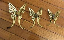 Lot of 3 - Vtg Home Interior Gold Brass Butterflies Wall Decor Homco