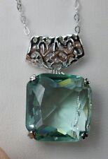 Pendant Necklace (Made To Order) Big Square*Aquamarine* Sterling Silver Filigree