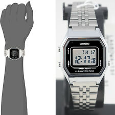 Casio LA680WA-1D Ladies Black Digital Watch Silver Steel Band Retro Vintage