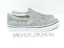 Women's VANS Slip-On Rib Knit Grey True White Synthetic Skateboard Shoes sz 8