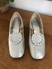 Vintage pappagallo jeweled Silver Heel Shoes Size 5.5 1960s