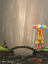Pete Rumney Art Painting Not Rabbit Over The Bridge Fun Colourful Rainy Day NR
