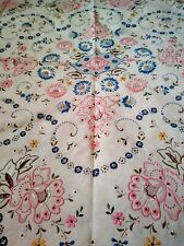 "Elaborate Pink Blue Floral Madeira Cutwork Embroidered Linen Tablecloth 95""x78"""