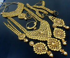 TRADITIONAL LCT KUNDAN CZ GOLD TONE NECKLACE BRIDAL ETHNIC JEWELRY SET 9 PCS