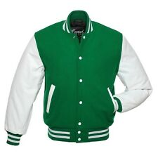 Green White Wool Real Leather Sleeves Letterman Varsity Bomber Jacket 2XS~4XL