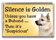 """Norwegian Buhund Dog Fridge Magnet """"Silence is Golden ..........."""" by Starprint"""