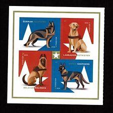 2019 Military Working Dogs block 4 Scott 5405-08 Forever MNH,  bonus stamps