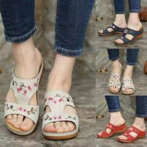 Women Shoes Hollow Flower Embroidered Sandals Wedge Slip On Summer Slippers Size
