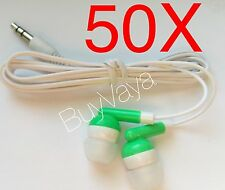 50x  Disposable head Phones Or Ear Buds green Color  Stereo Sound Good Quality