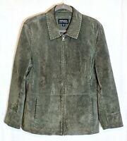 Bernardo for NORDSTROM Women's Sz XL Moss Green Genuine Suede Leather Jacket Zip
