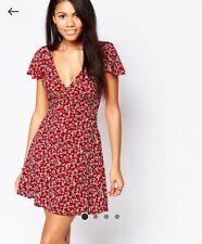 Asos Influence Flower Print Frill Romantic Summer Open Back Dress UK 12 Red