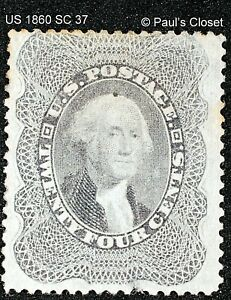 US 1860 SC 37a 24¢ WASHINGTON GRAY MINT NO GUM SCV $500 FINE/VERY FINE