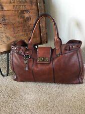 FOSSIL VRI Vintage Reissue Weekender Bag Whiskey Brown Leather Turnlock Satchel