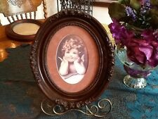 Beautiful Oval Picture of Cherub in Ornate Frame