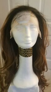 Womens Adult  HUMAN HAIR Blend Lace Front Wig by Signora 1B w Highlights NWT