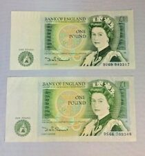 """1981-1984 BANK OF ENGLAND 2 x ONE POUND NOTES, DHF SOMERSET (IN BLACK), """"EF"""""""
