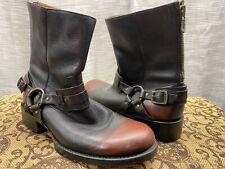 Frye Men's Riley Harness Leather Biker Boots Sz 10M Black/Brown Zipper/Buckle