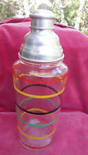 """ANCHOR HOCKING BANDED RINGS COLORED COCKTAIL SHAKER 11 1/4"""" LARGE DEPRESSION"""