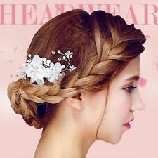 Bride Bling Ivory Crystal Pearl Hair Jewelry Wedding Party Hair Comb Handmade
