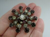 Vintage Amethyst & Clear Glass Flower Burst Silver Tone Rivet Back Brooch Pin