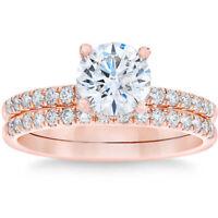 G/SI 1.75 Ct Diamond Engagement Wedding Ring Set 14k Rose Gold Enhanced