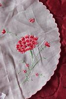 "Delicate Vintage Swiss Hand Embroidered Carnation & Ladybugs 10"" Linen Round"