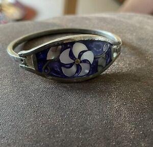 Victorian/Edwardian Blue Enamel And Mother Of Pearl Christening Bracelet