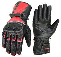 Real Leather Motorbike Motorcycle Gloves Full Finger Waterproof Hi-Viz Racing