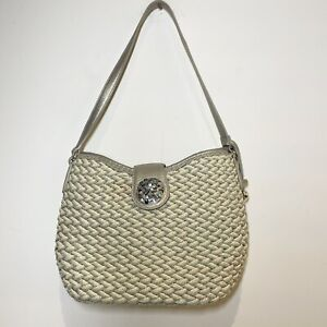Brighton Woven Basket Bag Purse Silver Tan Silver Floral Clasp Turquoise Beads