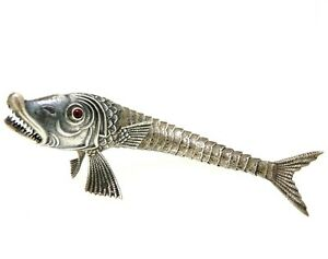 Figurine Fish Sized Silver Solid 800 Vintage '80 Decorative Object