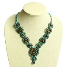 """NE114 Turquoise Bead Crystals Czech Glass Basket Weave Necklace Magnet Clasp 22"""""""