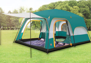 8-12 Person 3 Season Double Layers 2 Room Anti Hard Rain Big Family Camping Tent