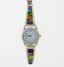 By Navajo Artist Arlene Yazzie Ladies Multi-Stone Inlay Watch Tips