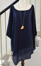 Melissa Paige Navy Blue Asymmetrical Linen Long Tunic Top Blouse XL 2XL 3XL NEW!