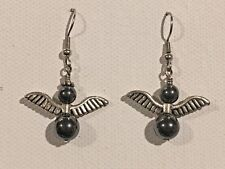 STONE ANGEL Earrings Surgical Hook New Handmade Warrior Hematite Black
