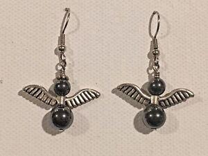 STONE ANGEL Earrings Surgical Hook New Handmade Warrior Hematite Black