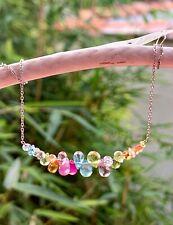 summer gemstone briolette necklace dangle gems white 14k gold citrine sapphire