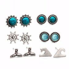 5Pairs/Set Boho Blue Turquoise Fishtail Anchor Sea Waves Ear Studs Earrings Set