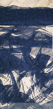 """2M NAVY PEARL BEADED  TULLE LACE BRIDAL FABRIC 58"""" WIDE"""